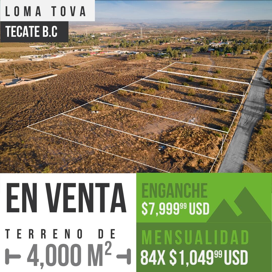 Terrenos en venta de 4,000 m² en Loma Tova, Tecate B.C0