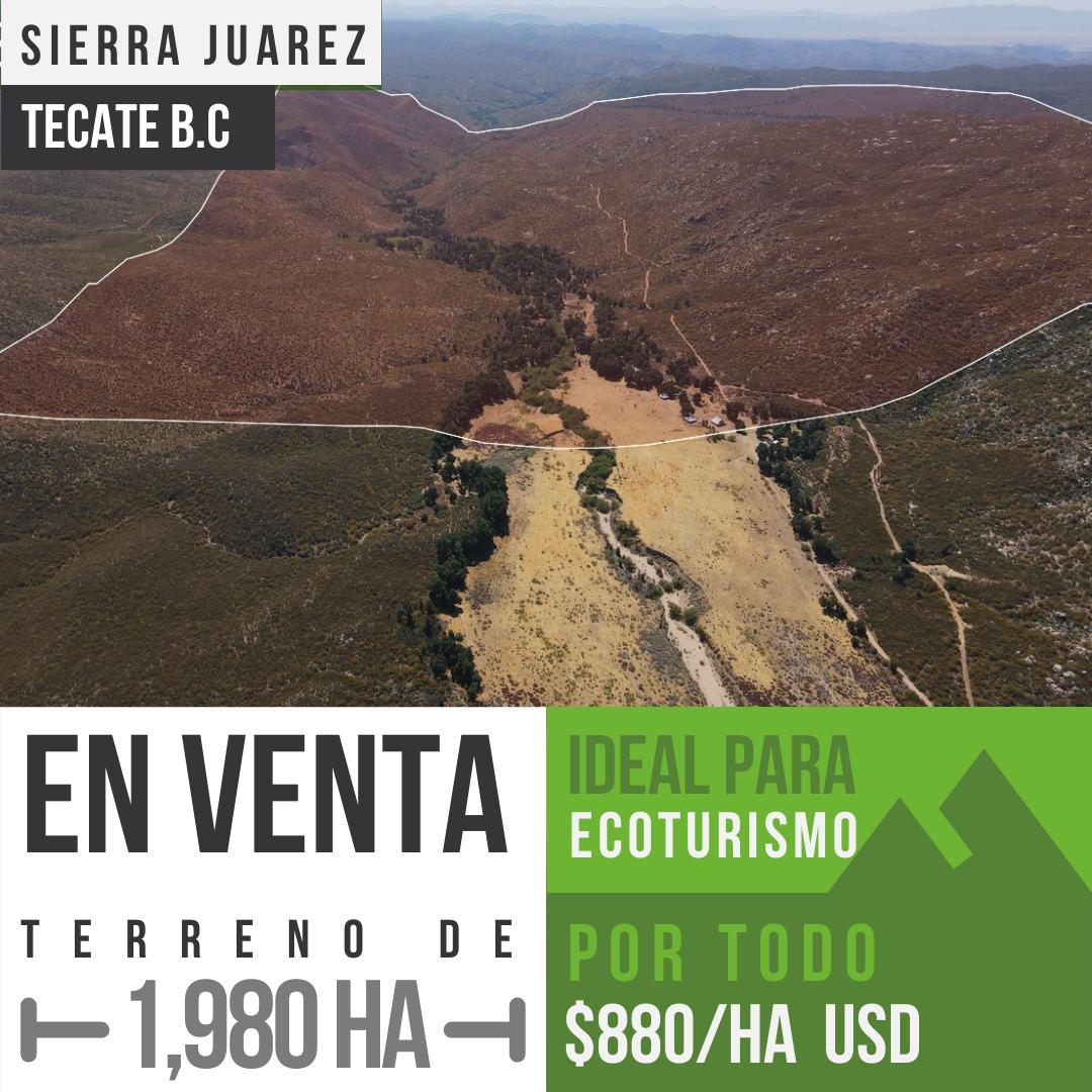Venta de 1,980 hectáreas en Sierra De Juarez, Ensenada B.C0