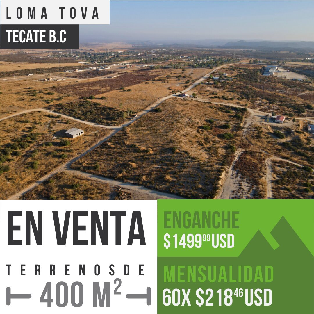 Terrenos en venta de 400 m² en Loma Tova, Tecate B.C0